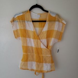 OLD NAVY Yellow Gingham Linen Wrap Top